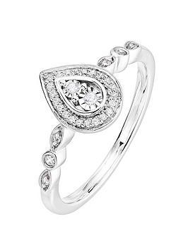 Love DIAMOND Love Diamond 9Ct White Gold 0.10Ct Diamond Pear Ring Picture