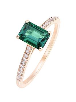 Love GEM Love Gem 9Ct Rose Gold Octagon Created Emerald And 0.09Ct Diamond  ... Picture