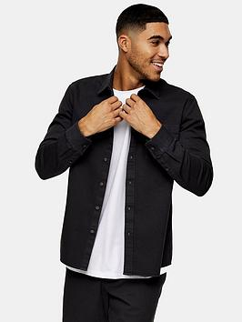 Topman Topman Twill Slim Fit Shirt - Charcoal Picture