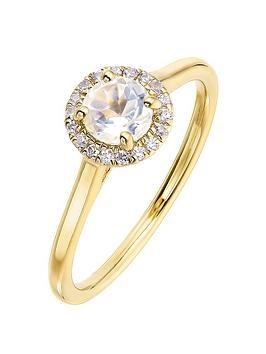 Love GEM Love Gem 9Ct Yellow Gold 5Mm Round White Topaz And 0.08Ct Diamond  ... Picture