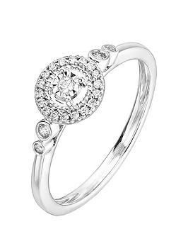 Love DIAMOND Love Diamond 9Ct White Gold 0.13Ct Diamond Milgrain Halo Ring Picture