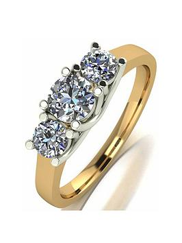 Moissanite Moissanite 18Ct Gold 1Ct Total Moissanite Trilogy Ring Picture