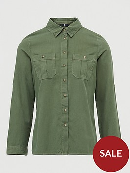 v-by-very-ultimate-button-through-shirt-khaki