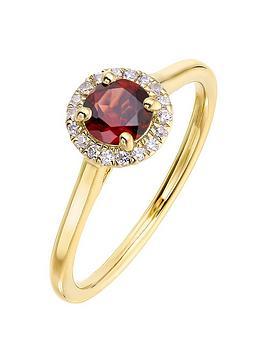 Love GEM Love Gem 9Ct Yellow Gold 5Mm Round Garnet And 0.08Ct Diamond  ... Picture