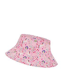 Accessorize Accessorize Girls Retro Unicorn Reversible Bucket Hat - Pink Picture