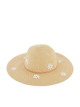 Accessorize   Girls Daisy Sparkle Floppy Hat - Natural
