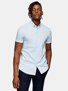 topman-stretch-skinny-shirt-blue