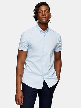 Topman Topman Stretch Skinny Shirt - Blue Picture