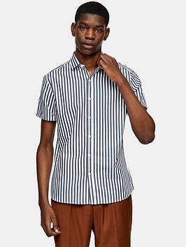 Topman Topman Bengal Stripe Shirt - Navy/White Picture