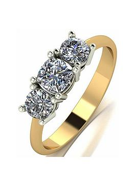 Moissanite Moissanite Moissanite 9Ct Gold 1Ct Cushion Centre Trilogy Ring Picture