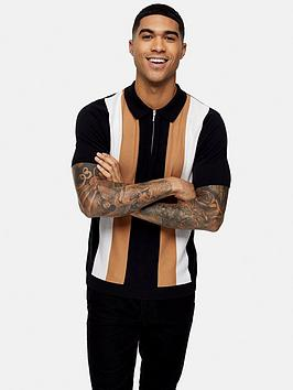 Topman Topman Block Stripe Polo Shirt - Black Picture