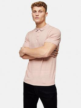 Topman Topman Knitted Stitch Polo Shirt - Pink Picture