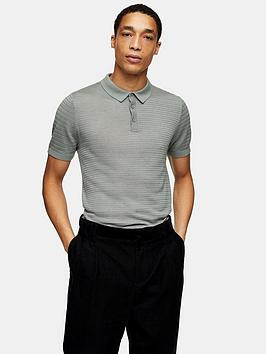Topman Topman Knitted Stitch Polo Shirt - Green Picture