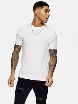 Topman Topman Knitted Crew Neck T-Shirt - White Picture