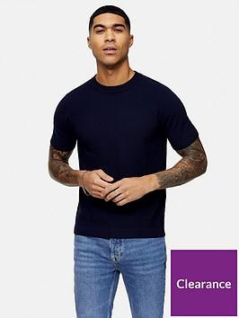 topman-knitted-crew-neck-t-shirt-navy