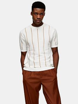 Topman Topman Knitted Stripe Crew Neck T-Shirt - Cream Picture