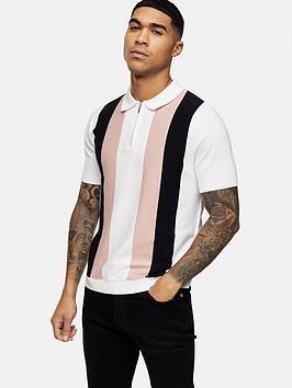Topman Topman Block Stripe Polo Shirt - White Picture