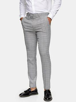 Topman Topman Skinny Fit Check Suit Trousers - Grey Picture