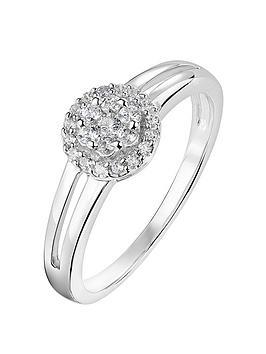 Love DIAMOND Love Diamond 9Ct White Gold 0.22Ct Diamond Cluster Halo Ring Picture