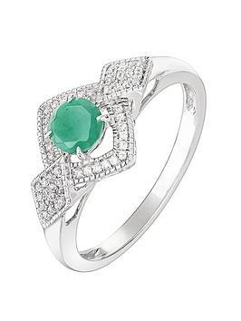 Love GEM Love Gem 9Ct White Gold Round Emerald And 0.12Ct Diamond Bridal  ... Picture