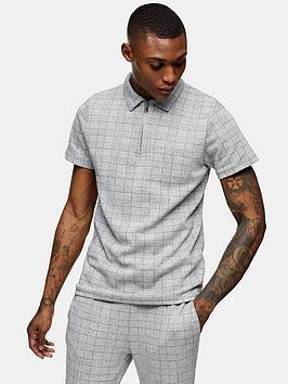 Topman Topman Check Texture Polo Shirt - Grey Picture