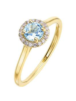 Love GEM Love Gem 9Ct Yellow Gold 5Mm Round Swiss Blue Topaz And 0.08Ct  ... Picture