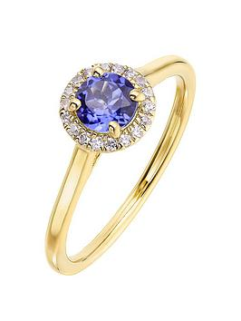 Love GEM Love Gem 9Ct Yellow Gold 5Mm Round Synthetic Tanzanite And 0.08Ct  ... Picture