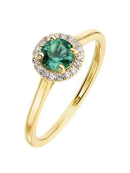 Love GEM Love Gem 9Ct Yellow Gold 5Mm Round Created Emerald And 0.08Ct  ... Picture