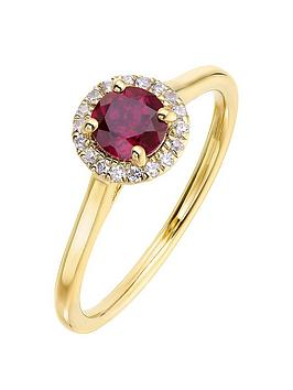 Love GEM Love Gem 9Ct Yellow Gold 5Mm Round Created Ruby And 0.08Ct  ... Picture