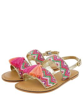 Accessorize   Girls Chevron Beaded Tassel Sandals - Pink