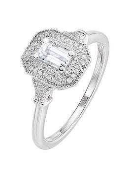 Love GEM Love Gem 9Ct White Gold Octagon Aquamarine And Diamond Ring Picture