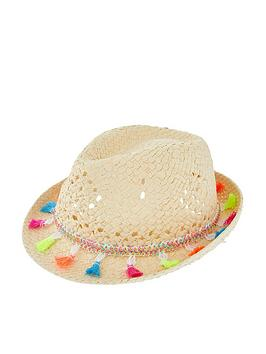 Accessorize   Girls Tassel Trilby Hat - Natural