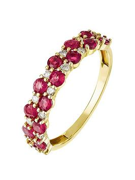 Love GEM Love Gem 9Ct Yellow Gold Double Row Round Ruby And 0.16Ct Diamond  ... Picture