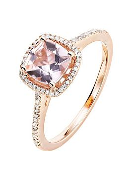 Love GEM Love Gem 9Ct Rose Gold Cushion Morganite And 0.12Ct Diamond Ring Picture