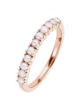 Love PEARL Love Pearl 9Ct Rose Gold Round Fresh Water Pearl Half Eternity  ... Picture