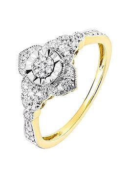 Love DIAMOND Love Diamond 9Ct Yellow Gold 0.14Ct Diamond Vintage Style Ring Picture