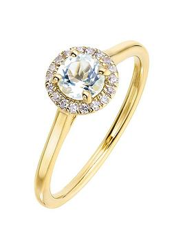 Love GEM Love Gem 9Ct Yellow Gold 5Mm Round Aquamarine And 0.08Ct Diamond  ... Picture