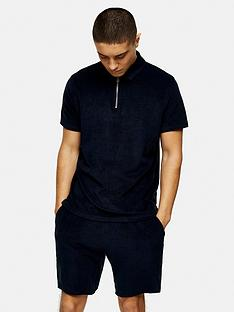 topman-towelling-zip-polo-shirt-navy