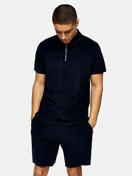 topman-towelling-zip-polo-shirt-navy