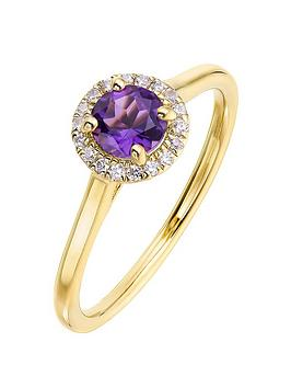 Love GEM Love Gem 9Ct Yellow Gold 5Mm Round Amethyst And 0.08Ct Diamond  ... Picture