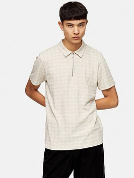 Topman Topman Check Polo Shirt - Natural Picture