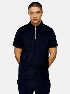 topman-jersey-towelling-shorts-navy