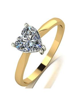 Moissanite Moissanite Moissanite 9Ct Gold 1.00Ct Heart Solitaire Ring Picture