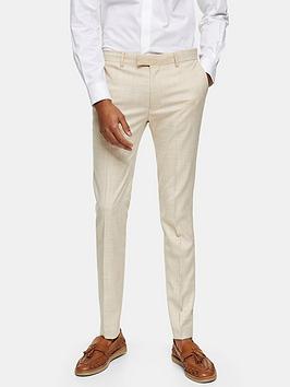 Topman Topman Super Skinny Suit Trousers - Stone Picture