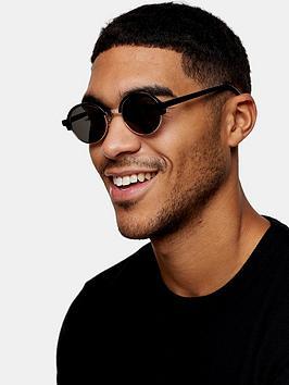 Topman Topman Round Clubmaster Sunglasses - Black Picture