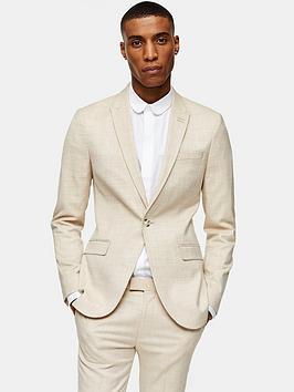 Topman Topman Super Skinny Suit Jacket - Stone Picture