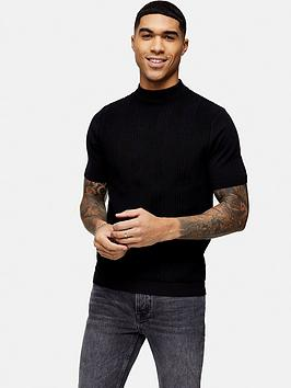Topman Topman Knitted Turtle Neck T-Shirt - Black Picture