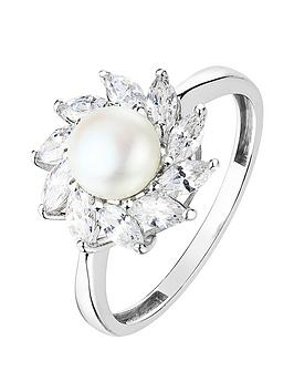Love PEARL Love Pearl 9Ct White Gold Freshwater Button Pearl And Marquise  ... Picture