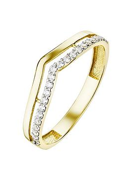 Love GOLD Love Gold 9Ct Yellow Gold Cubic Zirconia Double Row Wishbone Ring Picture