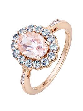 Love Gem 9Ct Rose Gold Oval Morganite Round Aquamarine And Diamond Ring
